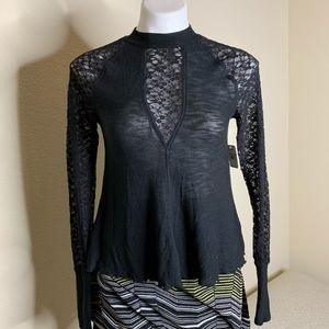 NWT Free People Black Lace Shirt